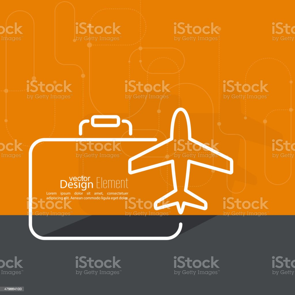 Icon airplane and suitcase vector art illustration