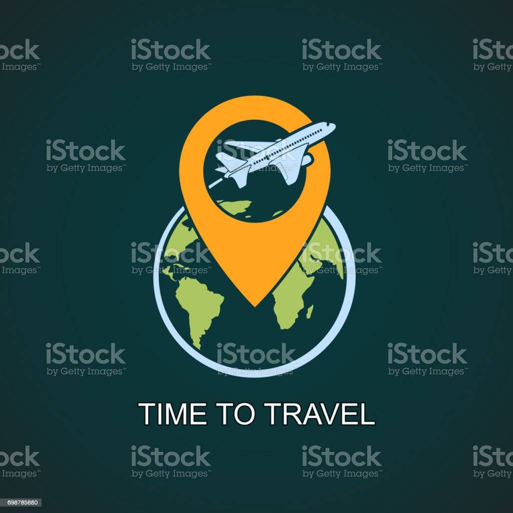 Icon airplane flies around the earth planet. vector art illustration
