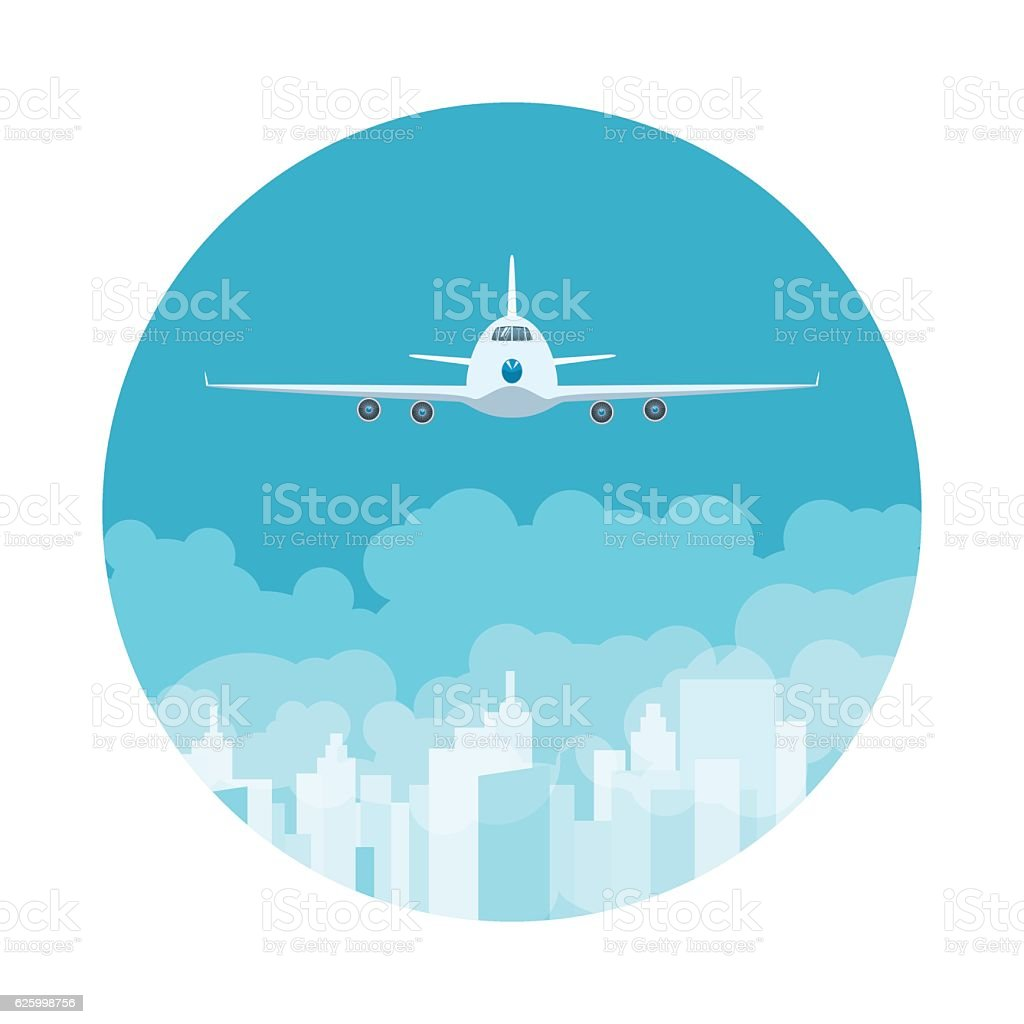 Icon Airplane Flying High in the Sky vector art illustration
