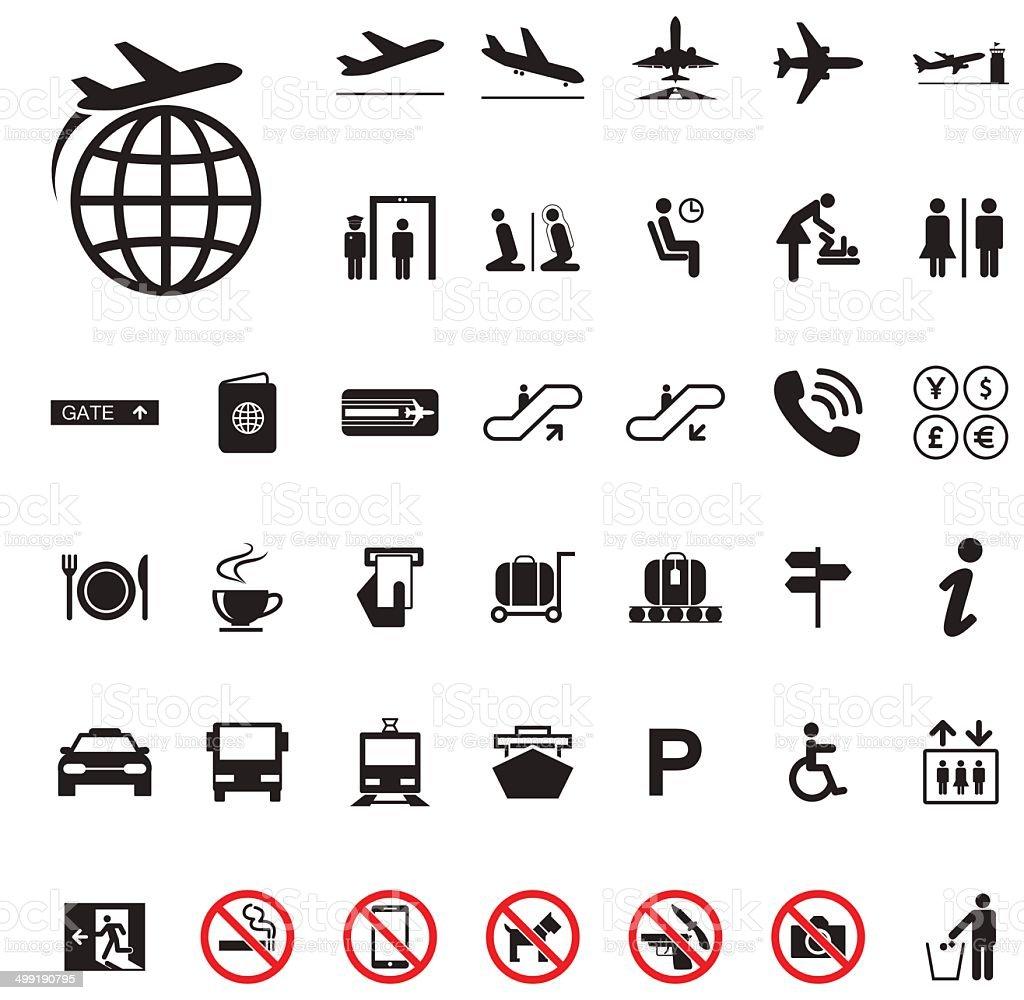 Icon Airport set vector art illustration
