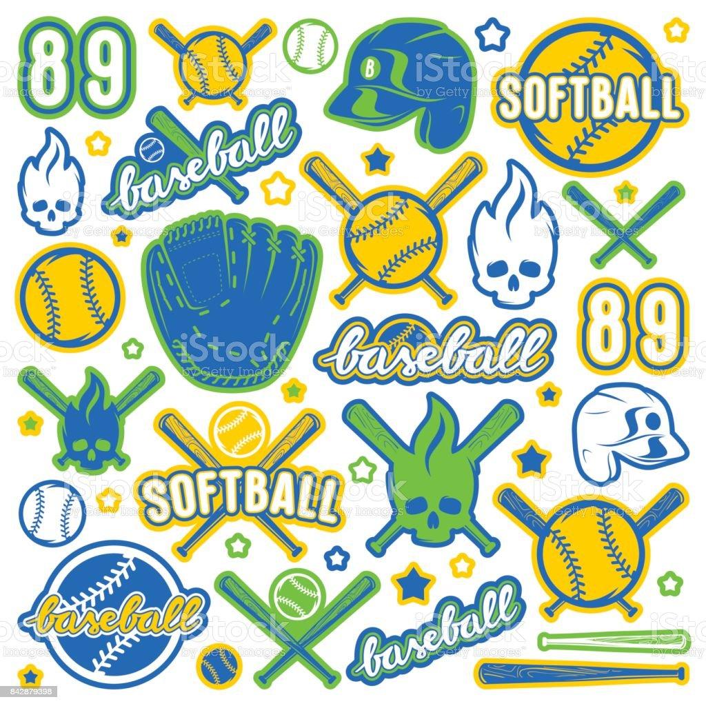 Icon and badge set of baseball and softball equipment vector art illustration
