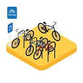 icon bicycle parking with colorful bikes