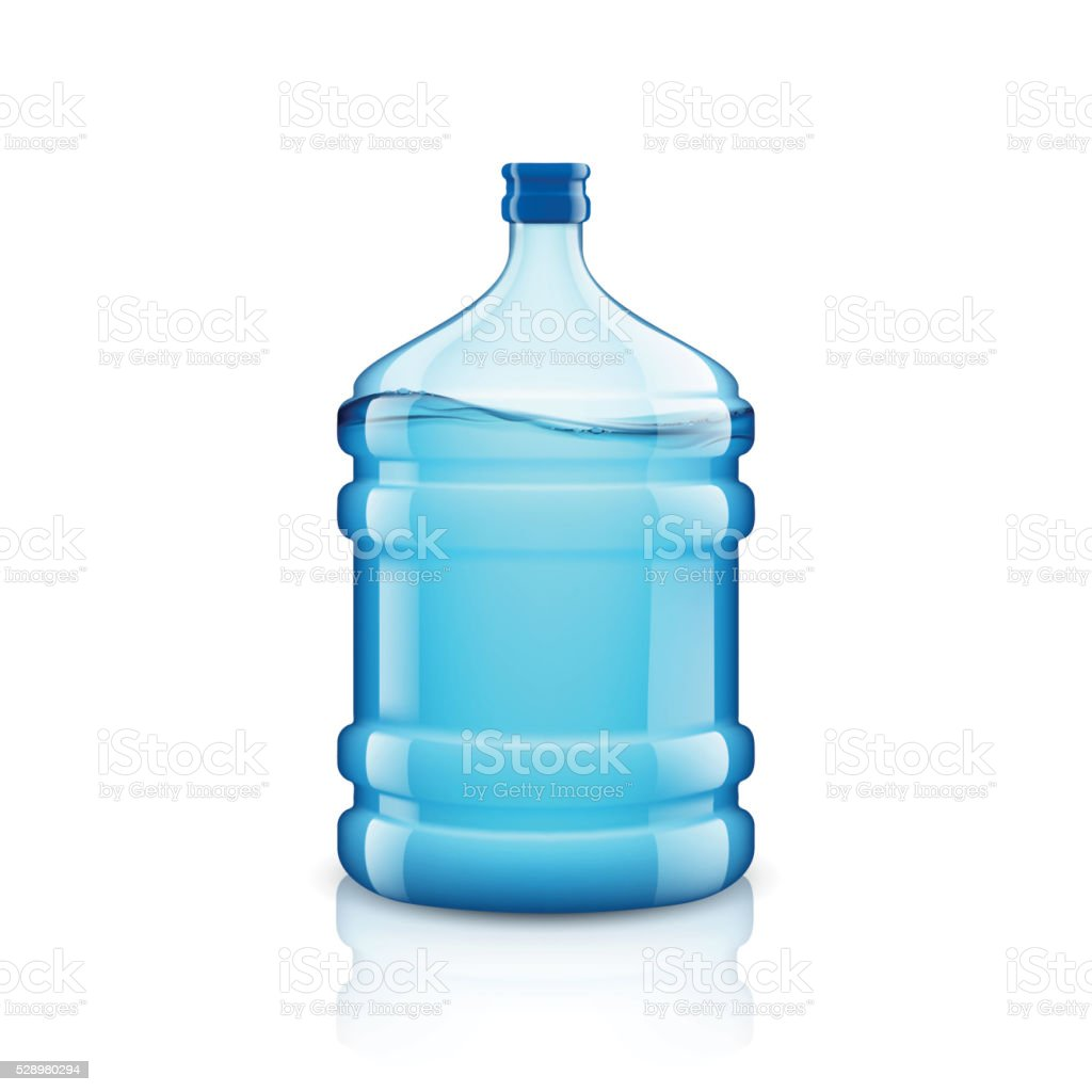 Icon big bottle with clean water. Plastic container vector art illustration