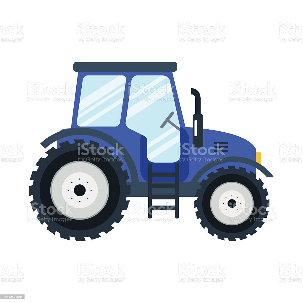 Icon blue tractor on white background - vector illustration. Agricultural vector art illustration