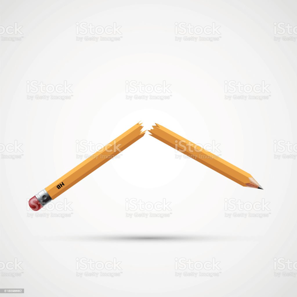 Icon broken pencil. vector art illustration
