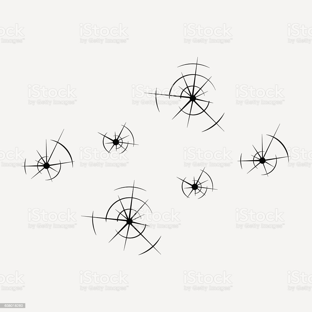 icon bullet holes in the glass, , shot vector art illustration