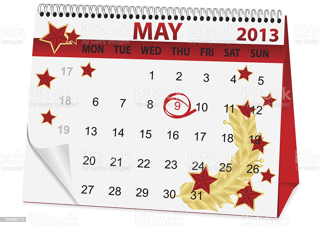 icon calendar for May 9 royalty-free stock vector art