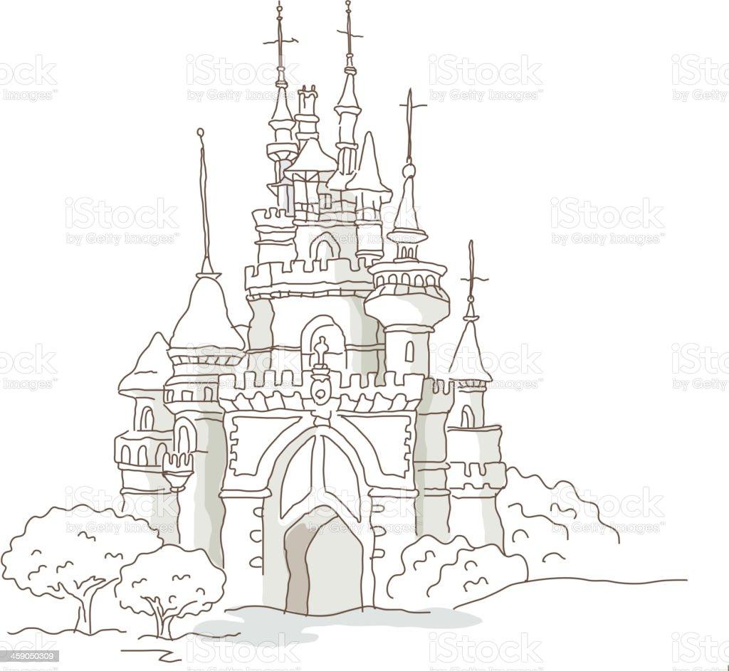icon castle vector art illustration