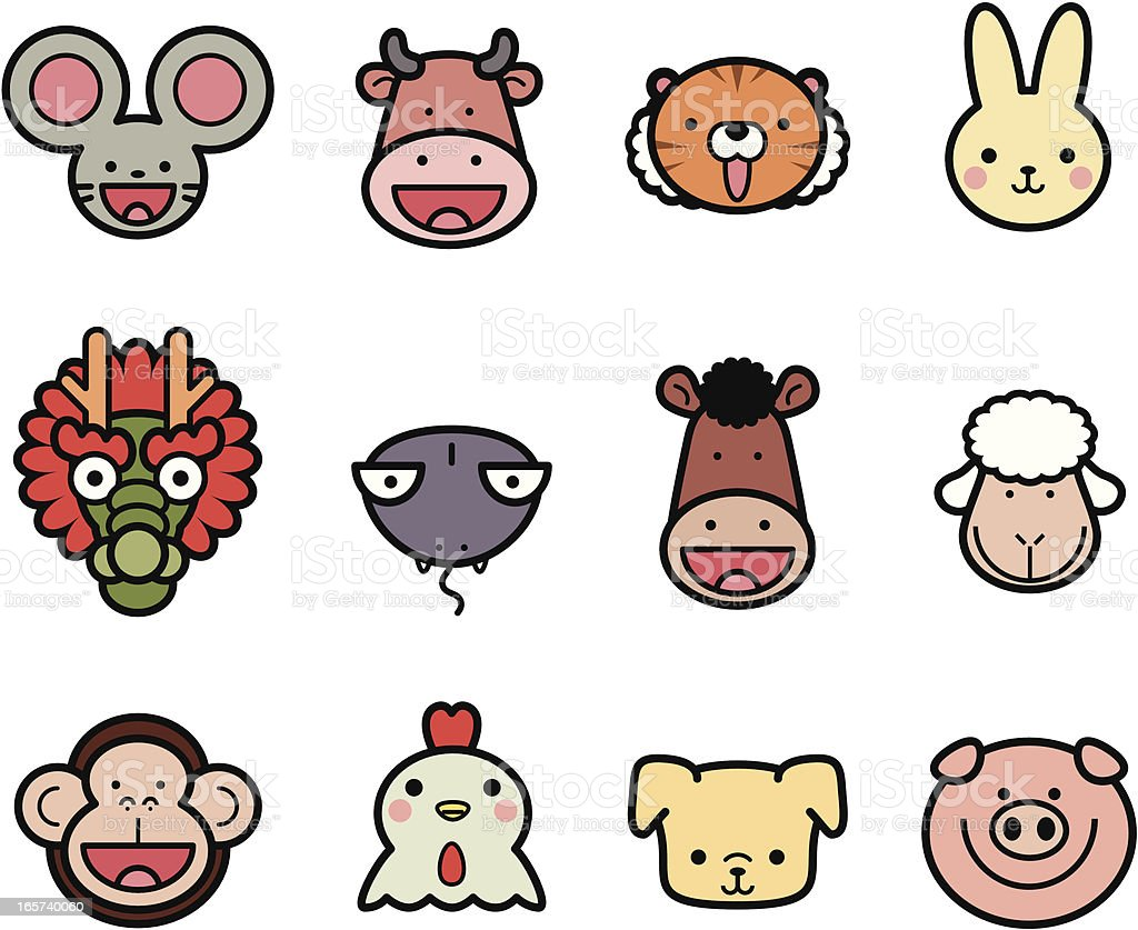 Icon Collection: Cute Chinese Zodiac in color royalty-free stock vector art