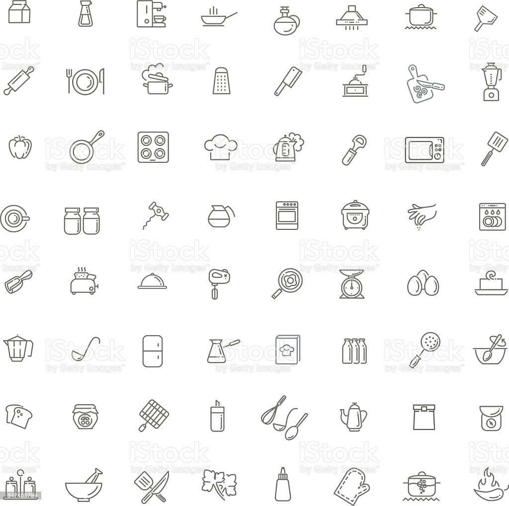 icon collection - kitchen tools and utensils vector art illustration