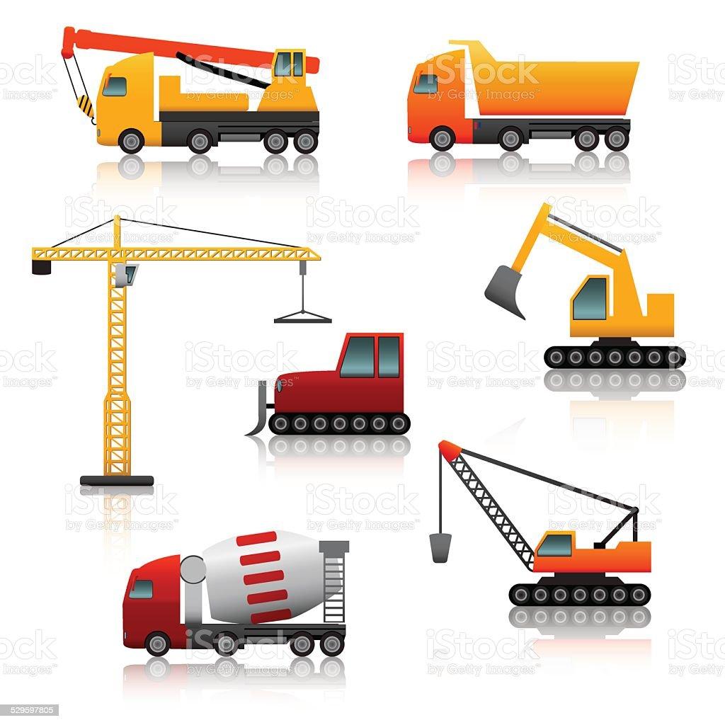 icon construction equipment  .crane, scoop, mixer with reflection vector art illustration