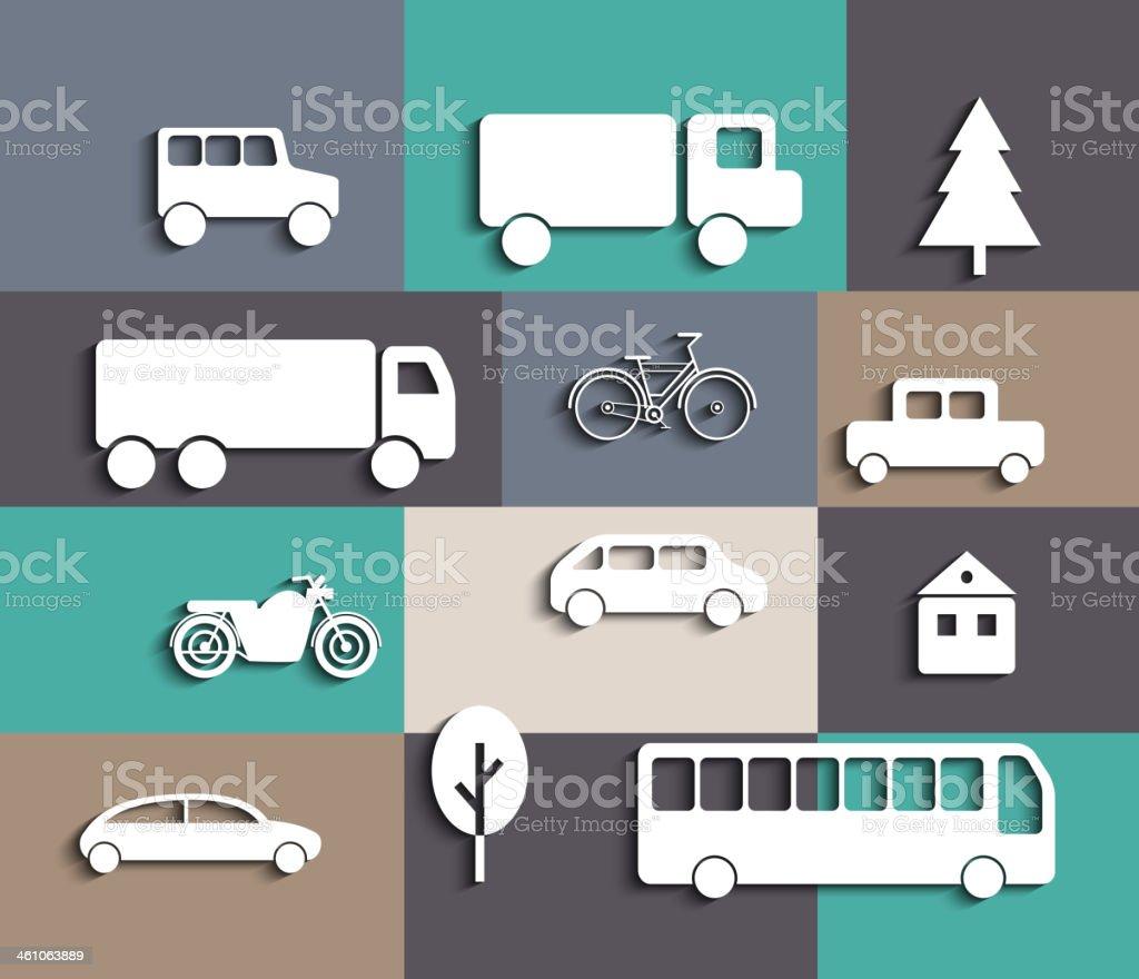 Icon cutout set. Vehicles. vector art illustration