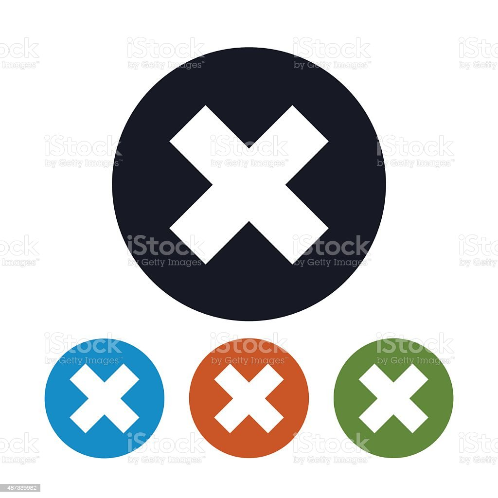 Icon Delete sign, Icon Crosswise Sign vector art illustration
