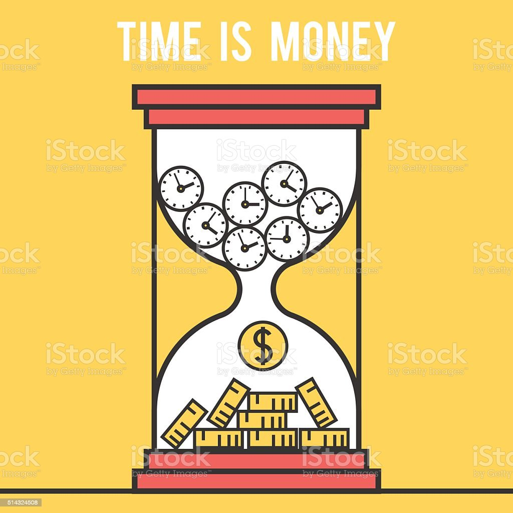 Icon design concept time is money, hourglass vector art illustration
