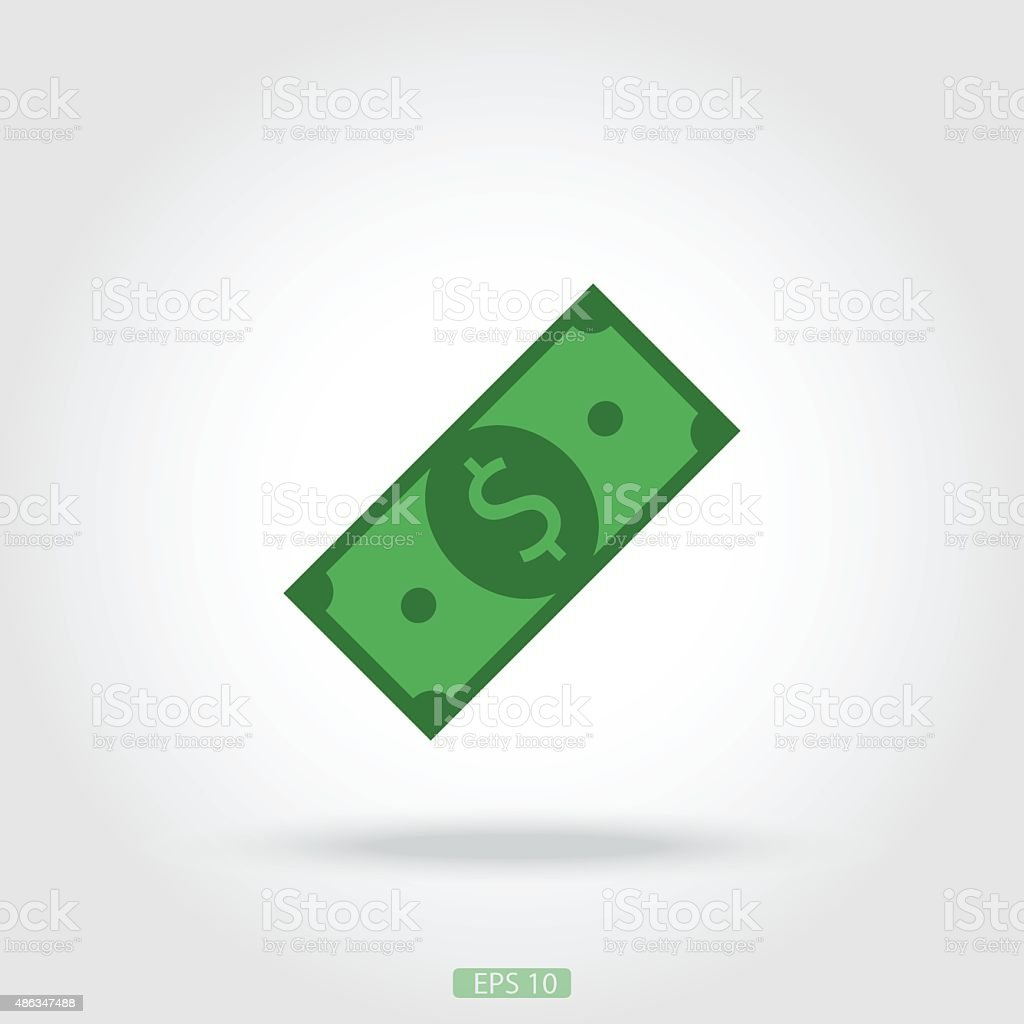 Icon dollar bill vector art illustration