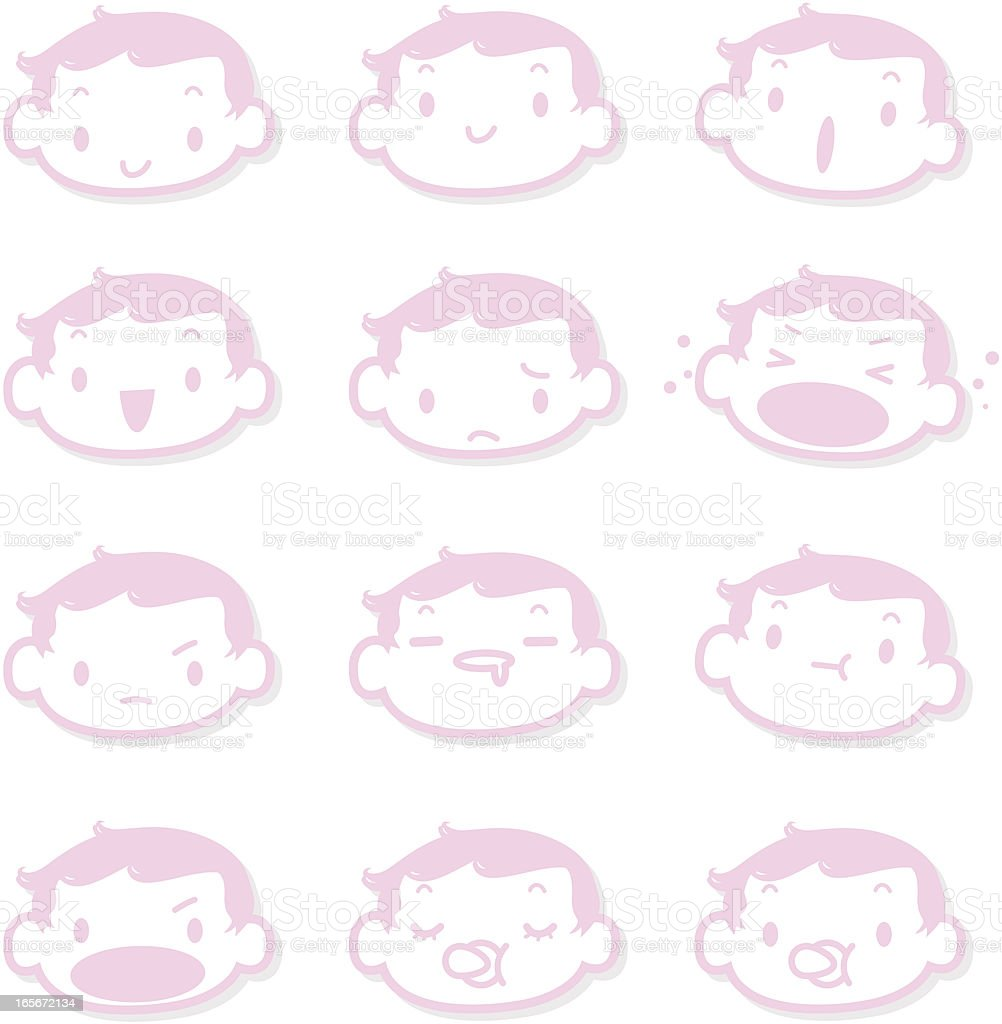 Icon, Emoticons  - Cute Baby Face( mad, crying, smiling, sleeping ) royalty-free stock vector art