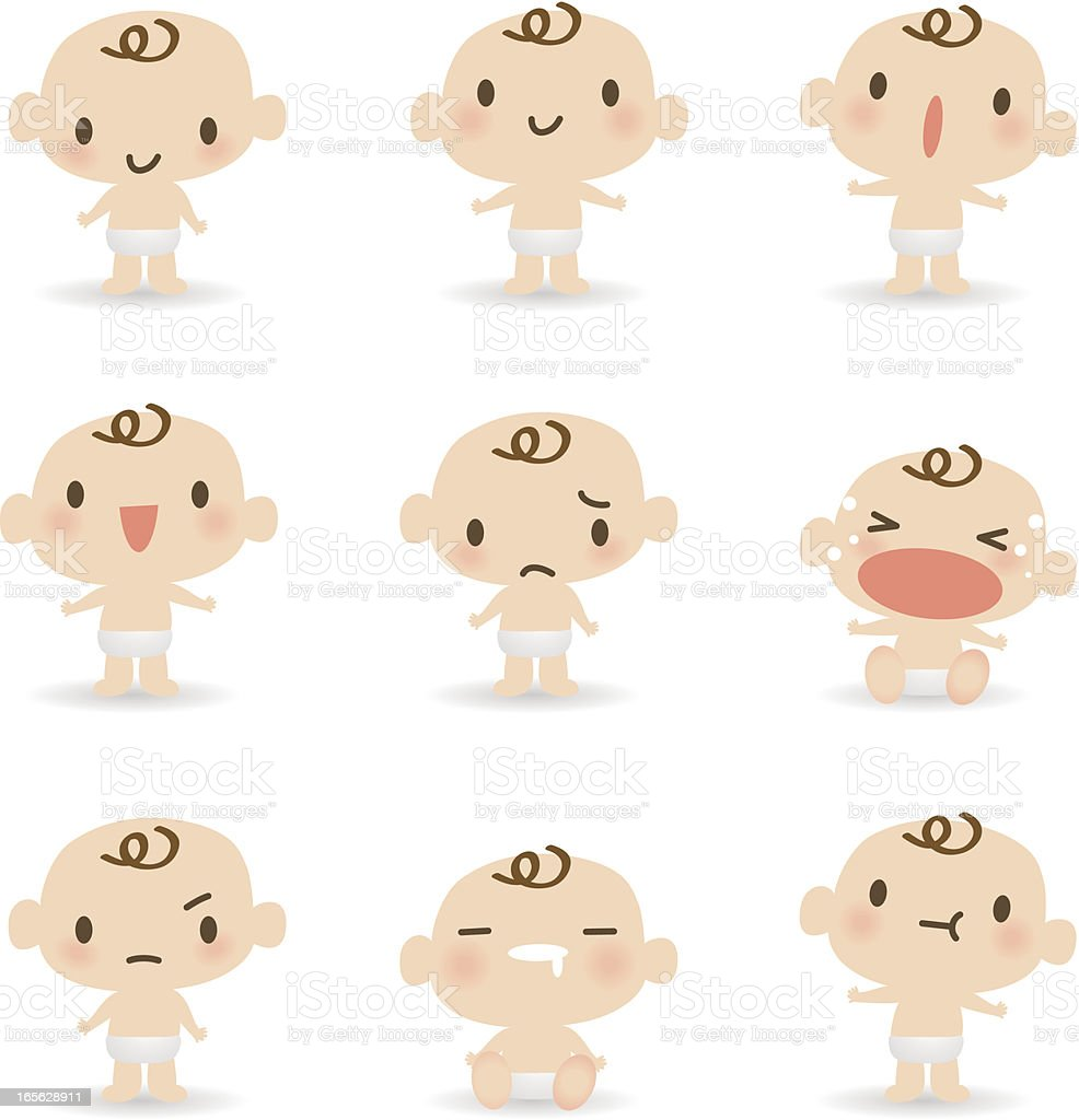 Icon, Emoticons - Cute Baby ( mad, crying, smiling, sleeping ) vector art illustration