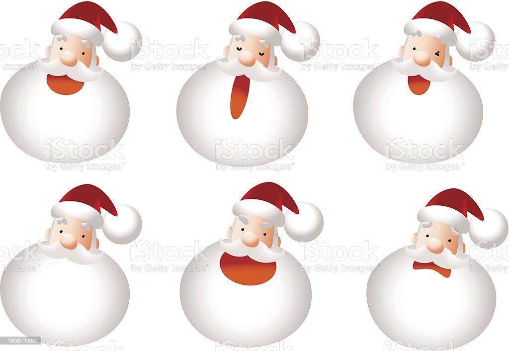 Icon, Emoticons - Santa Claus Face, Smiling, Singing, Angry, Sadness royalty-free stock vector art