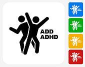 ADD ADHD Icon Flat Graphic Design