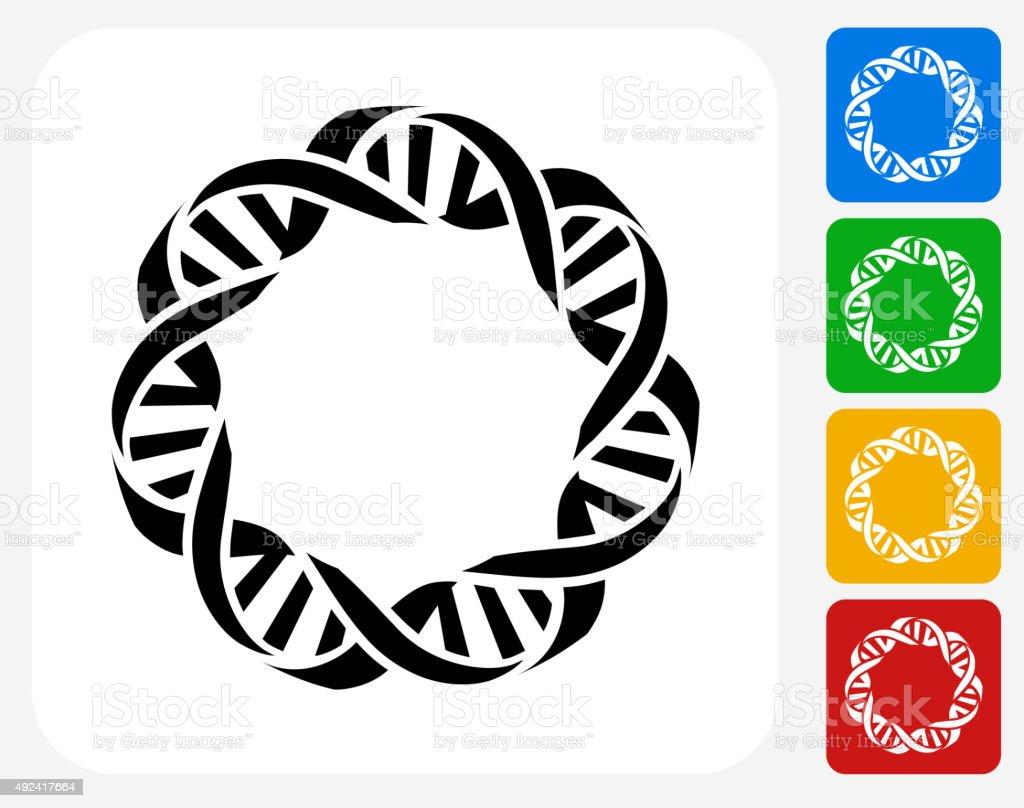 DNA Icon Flat Graphic Design vector art illustration