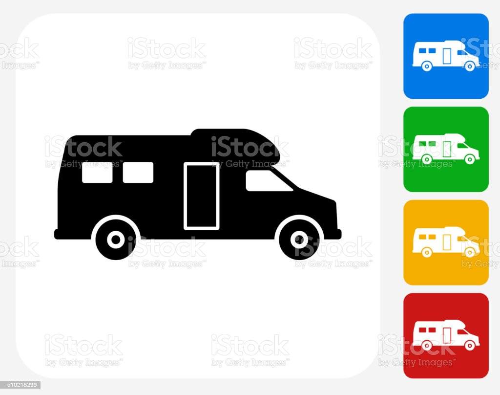 RV Icon Flat Graphic Design vector art illustration