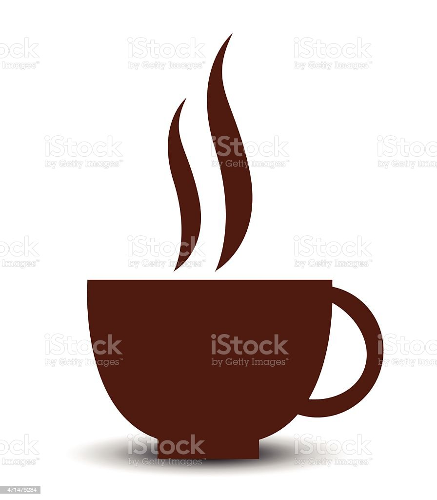Icon for a steamy cup of coffee vector art illustration