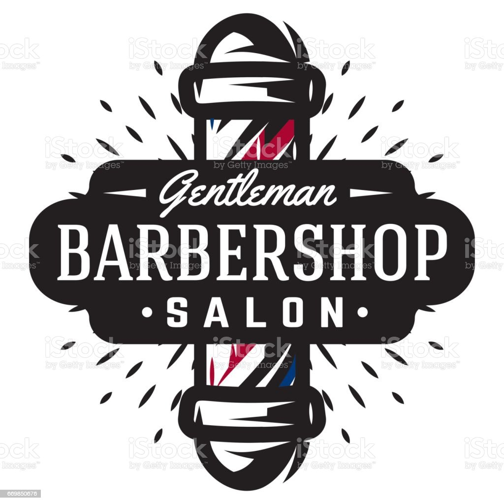 Clip art vector of vintage barber shop logo graphics and icon vector - Icon For Barbershop With Barber Pole In Vintage Style Vector Template Royalty Free Stock