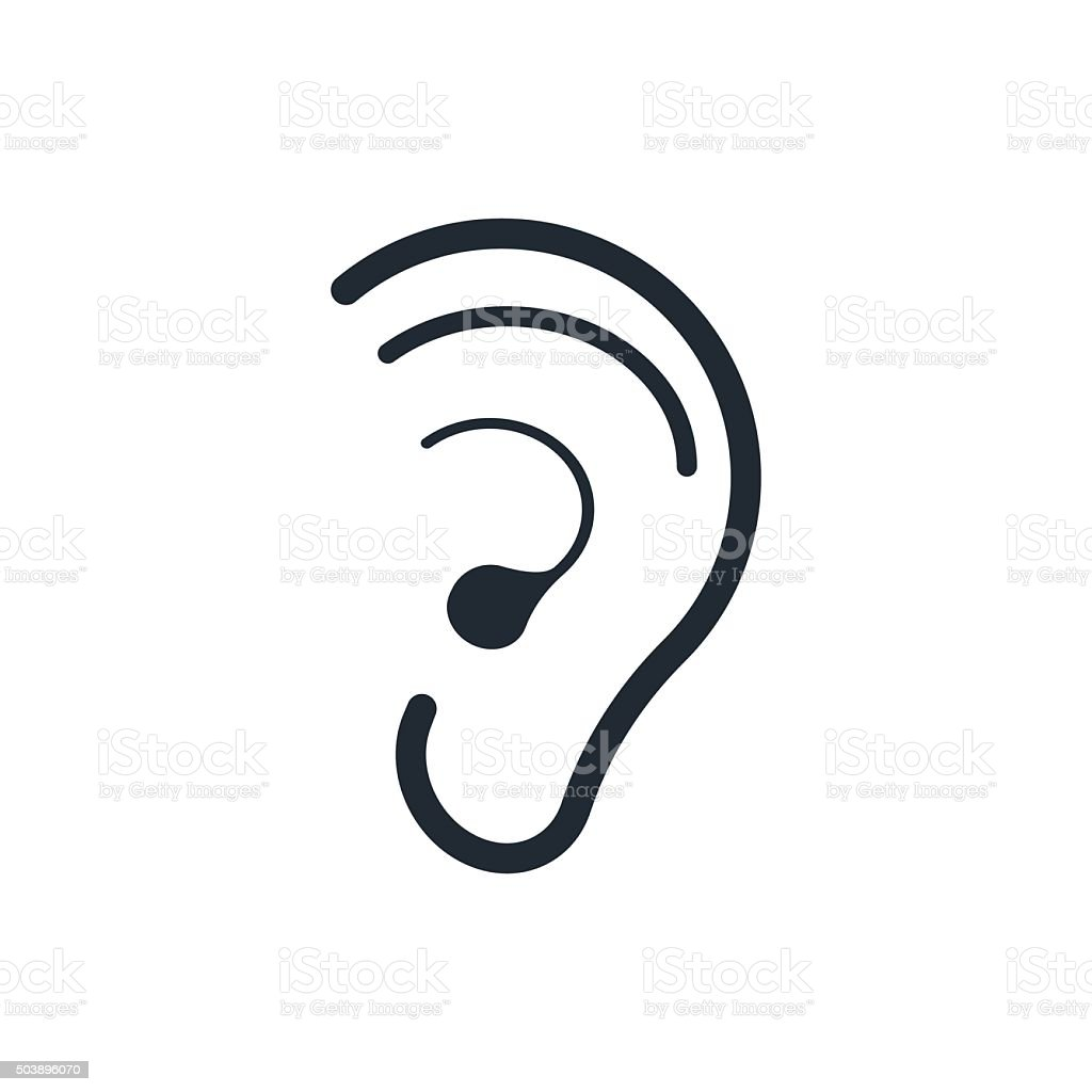 icon hearing ear vector art illustration