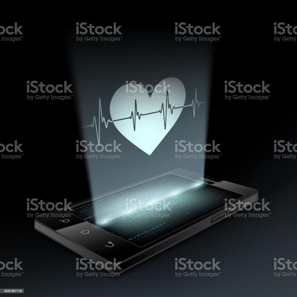 Icon heart on the screen vector art illustration