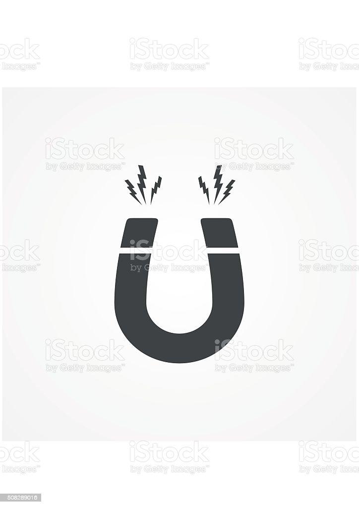 Icon horseshoe magnet, magnetism attraction. Flat design. Vector illustration. vector art illustration