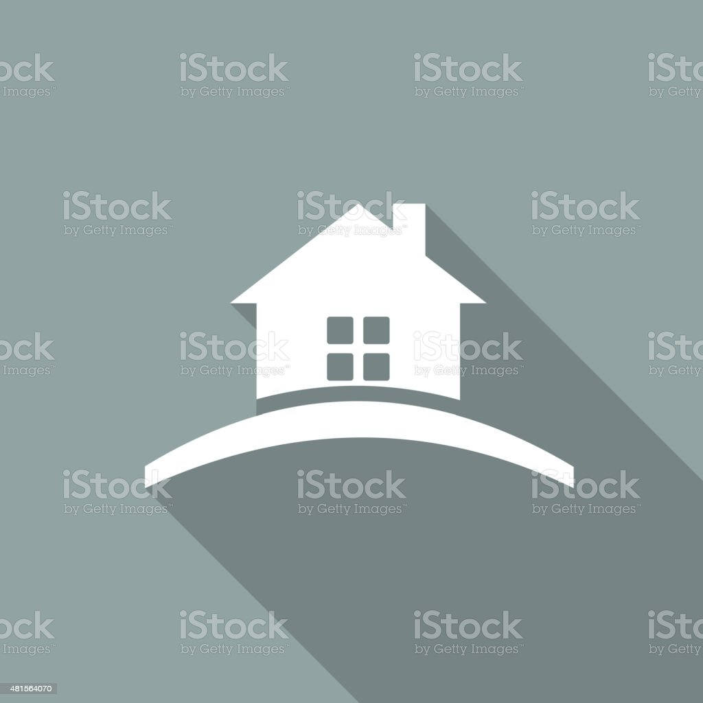 Icon house Icon with a long shadow vector art illustration