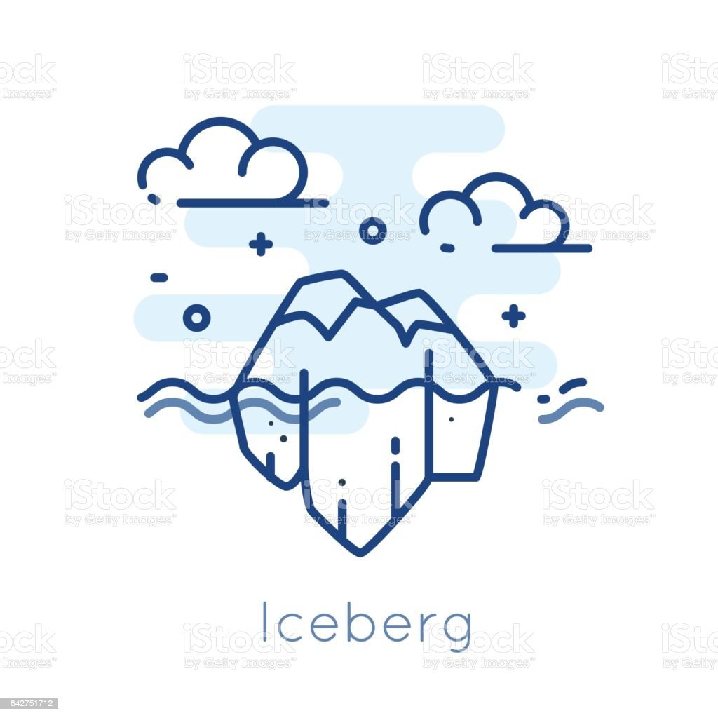 Icon Iceberg on white background. Thin line flat design. vector art illustration