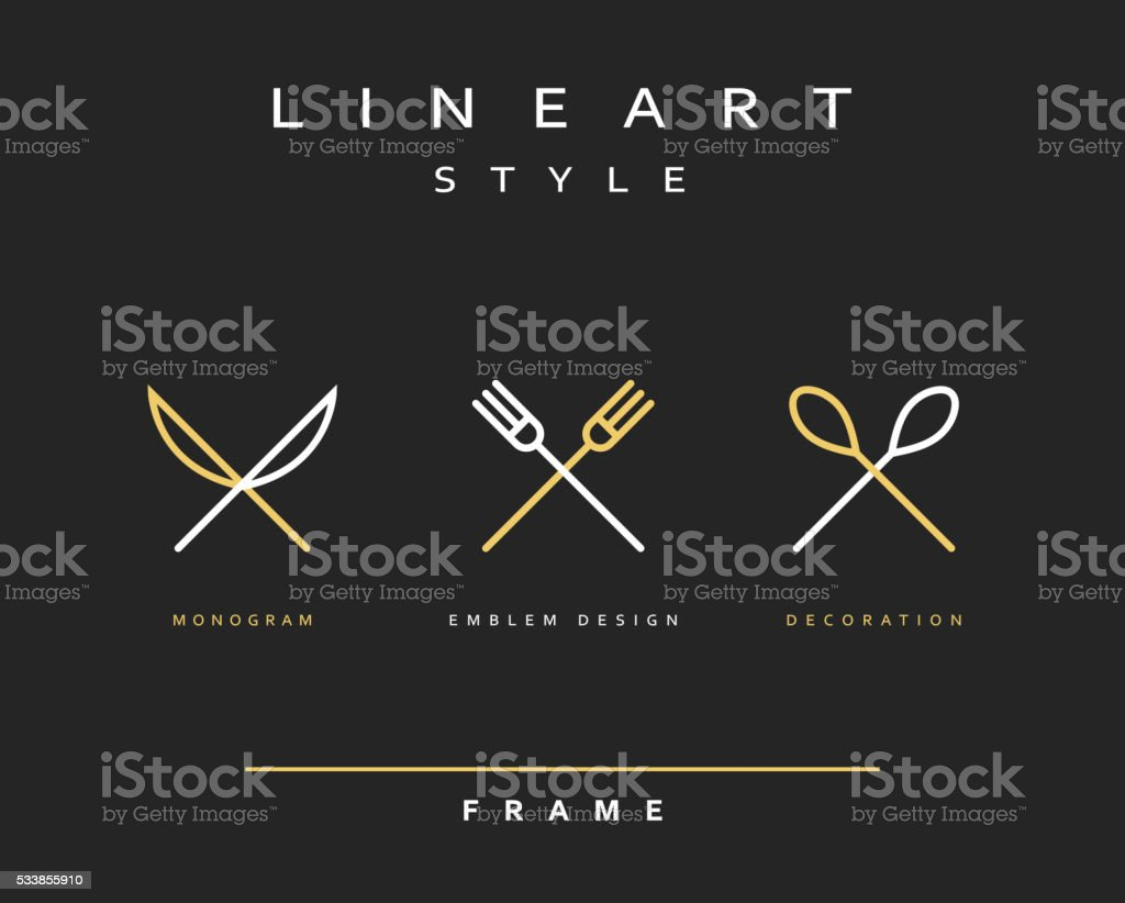 Icon knife, fork and spoon vector art illustration