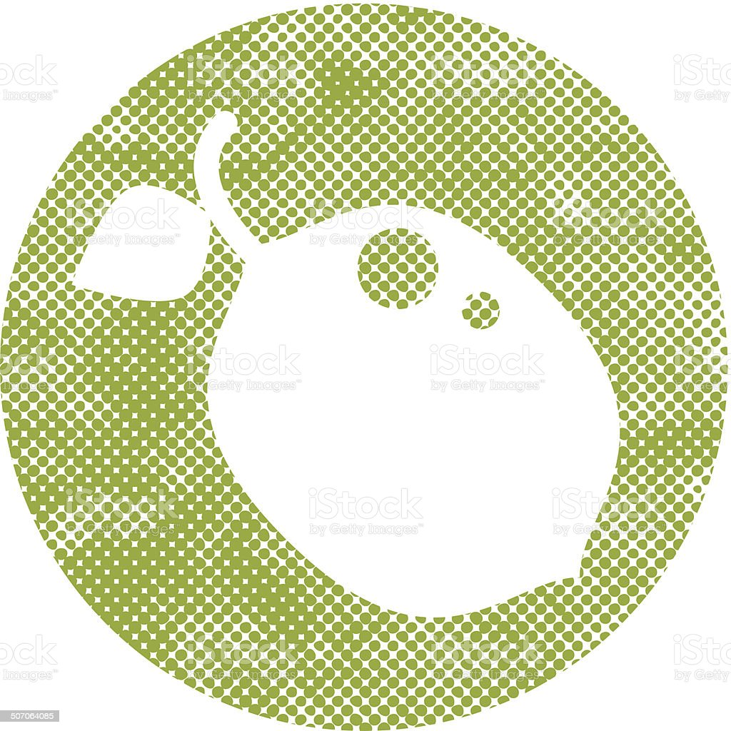 Icon lime with pixel print halftone dots texture. royalty-free stock vector art