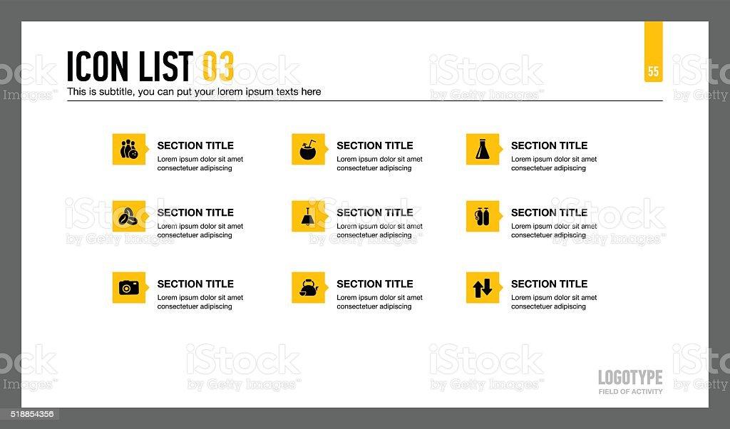 Icon List Presentation Slide 1 vector art illustration