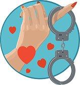 Icon love in handcuffs