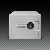 Icon metal box on transparent background. Safe with digital lock