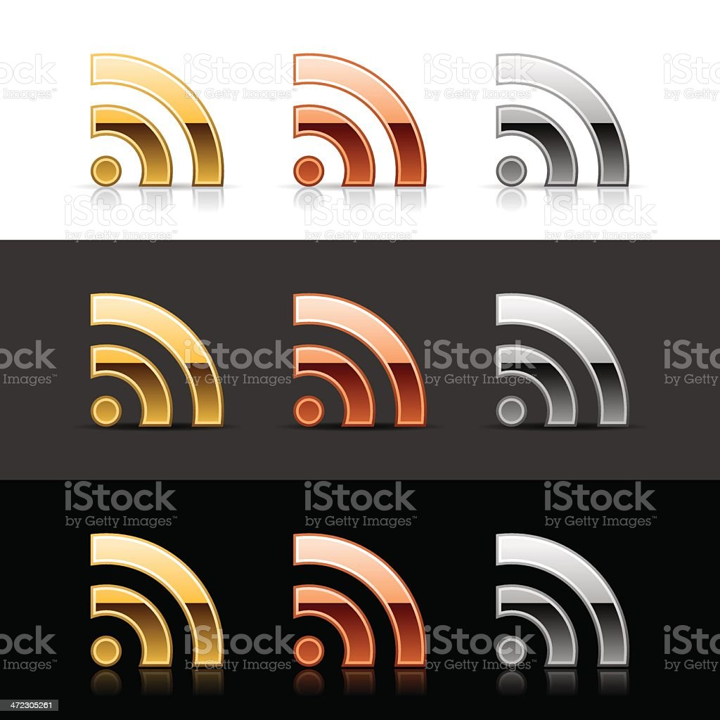 RSS icon metal sign gold bronze silver web button royalty-free stock vector art