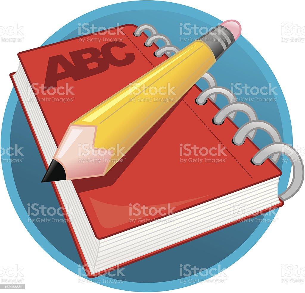 Icono-Libreta y lápiz - ilustración de arte vectorial