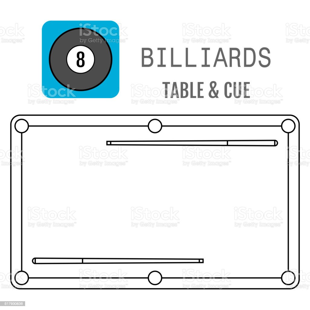 Icon of a billiard ball. Pool table and cues vector art illustration