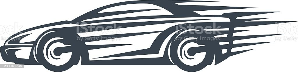 Icon of a Fast racing car in motion vector art illustration