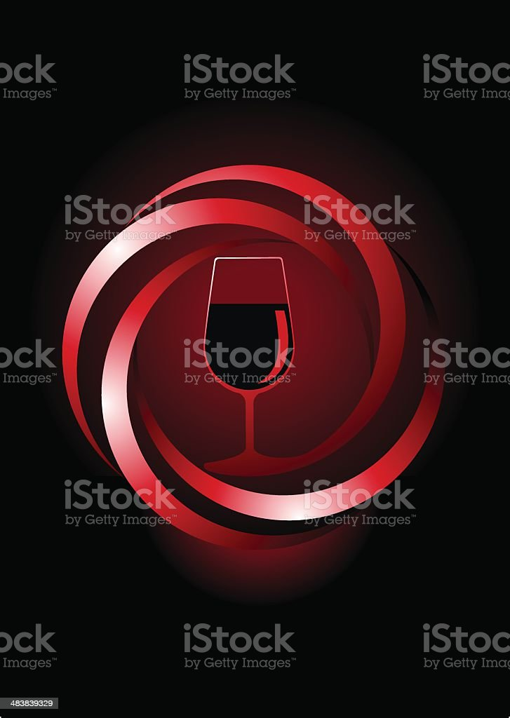 Icon of a glass with red wine royalty-free stock vector art