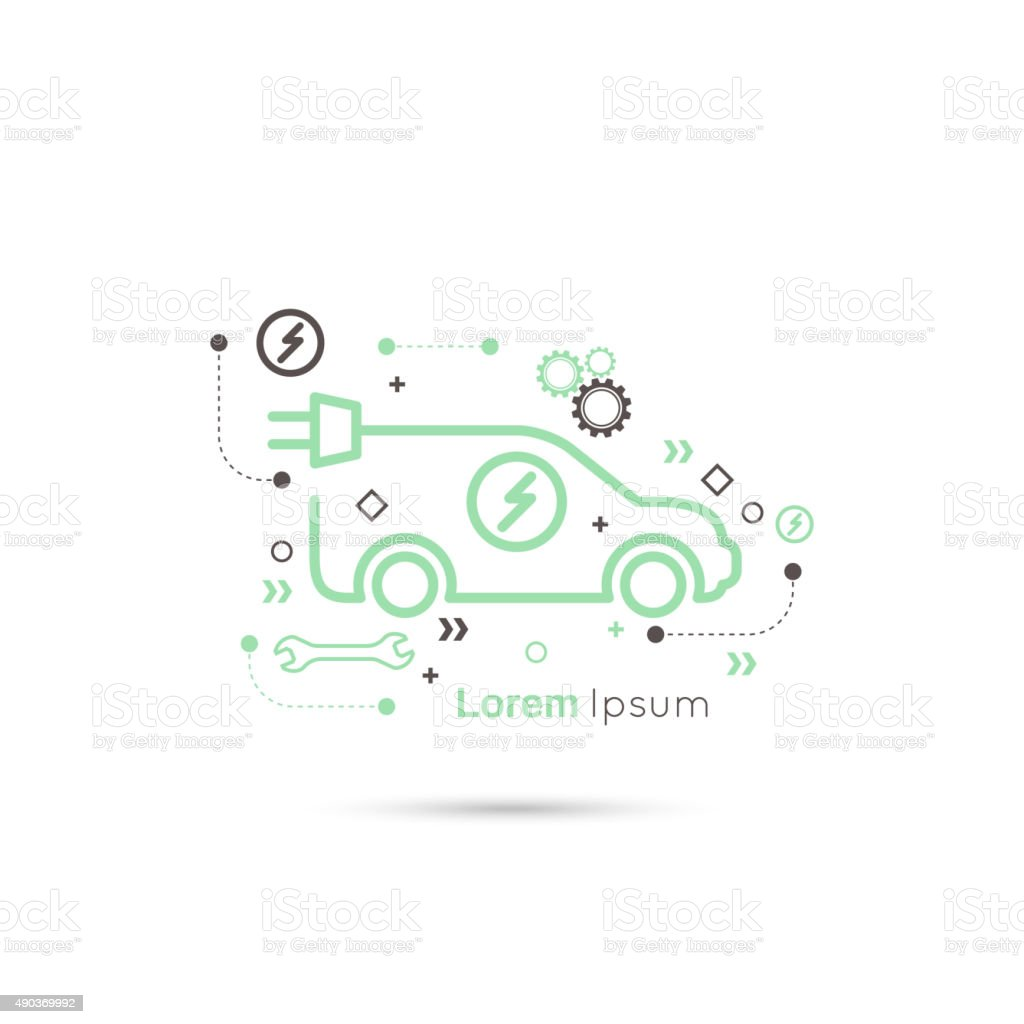 Icon of a hybrid car that runs on electricity vector art illustration
