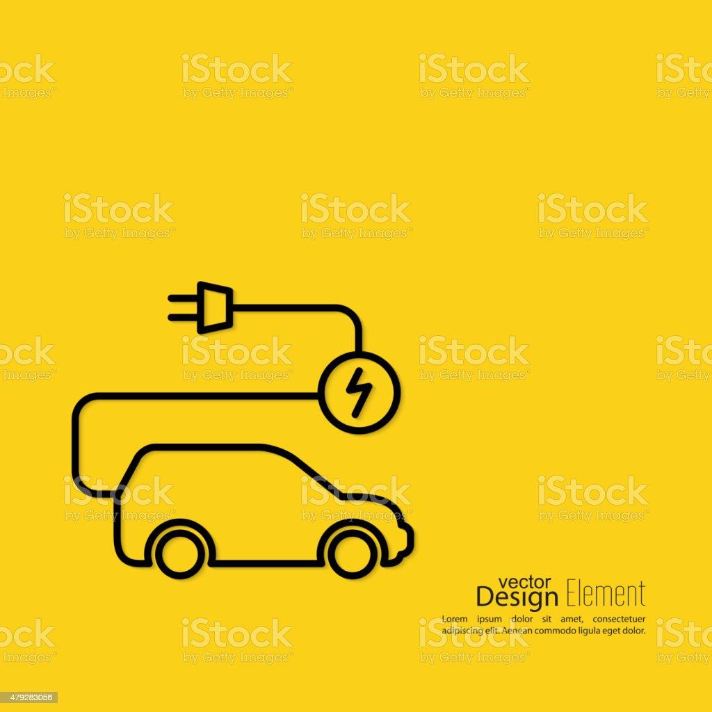 Icon of a hybrid car vector art illustration