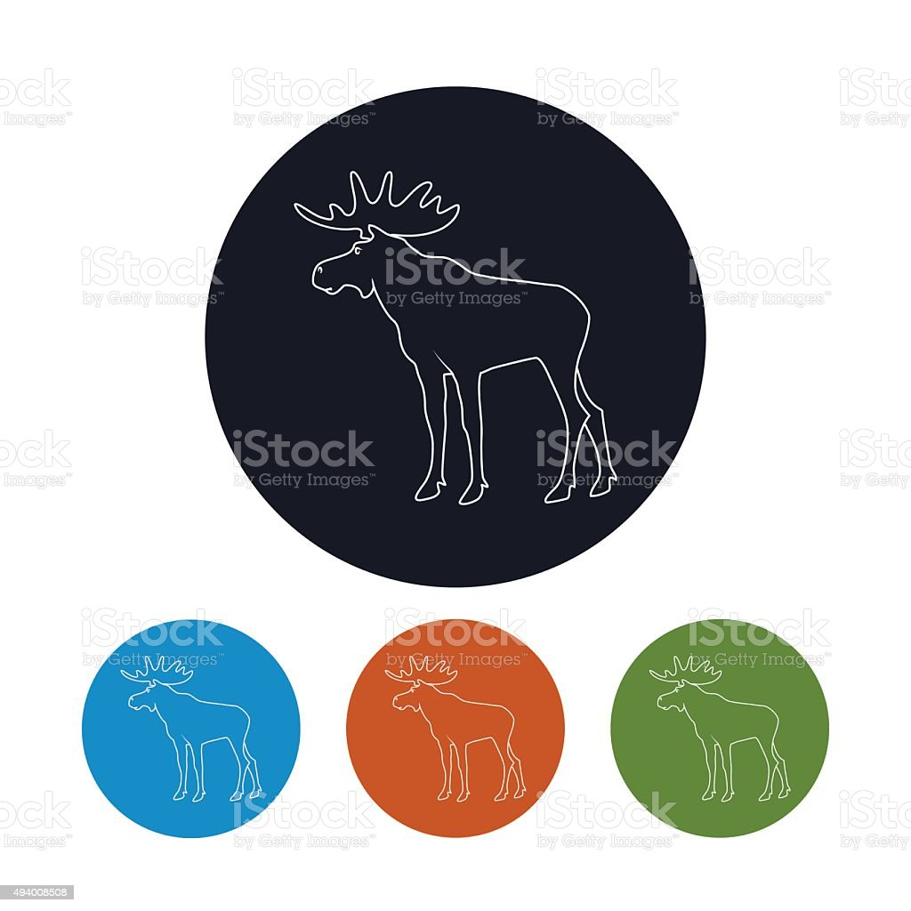 Icon of a Moose Bull with Antlers vector art illustration