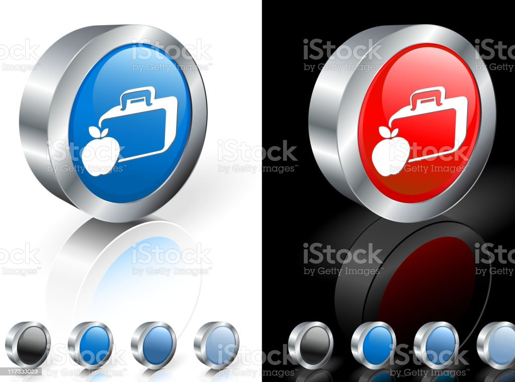 3D icon of an apple and lunchbox royalty-free stock vector art