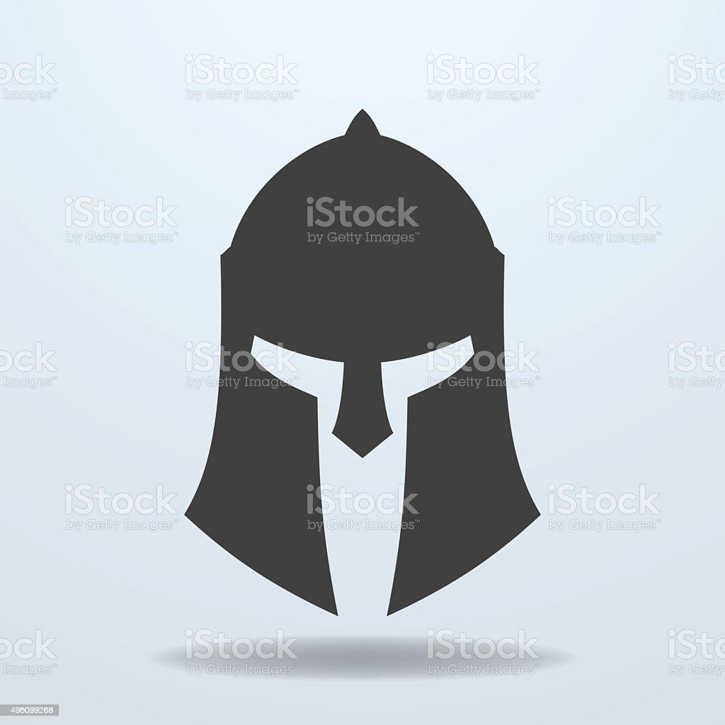 Icon of ancient Greek, Roman, Spartan helmet. vector art illustration