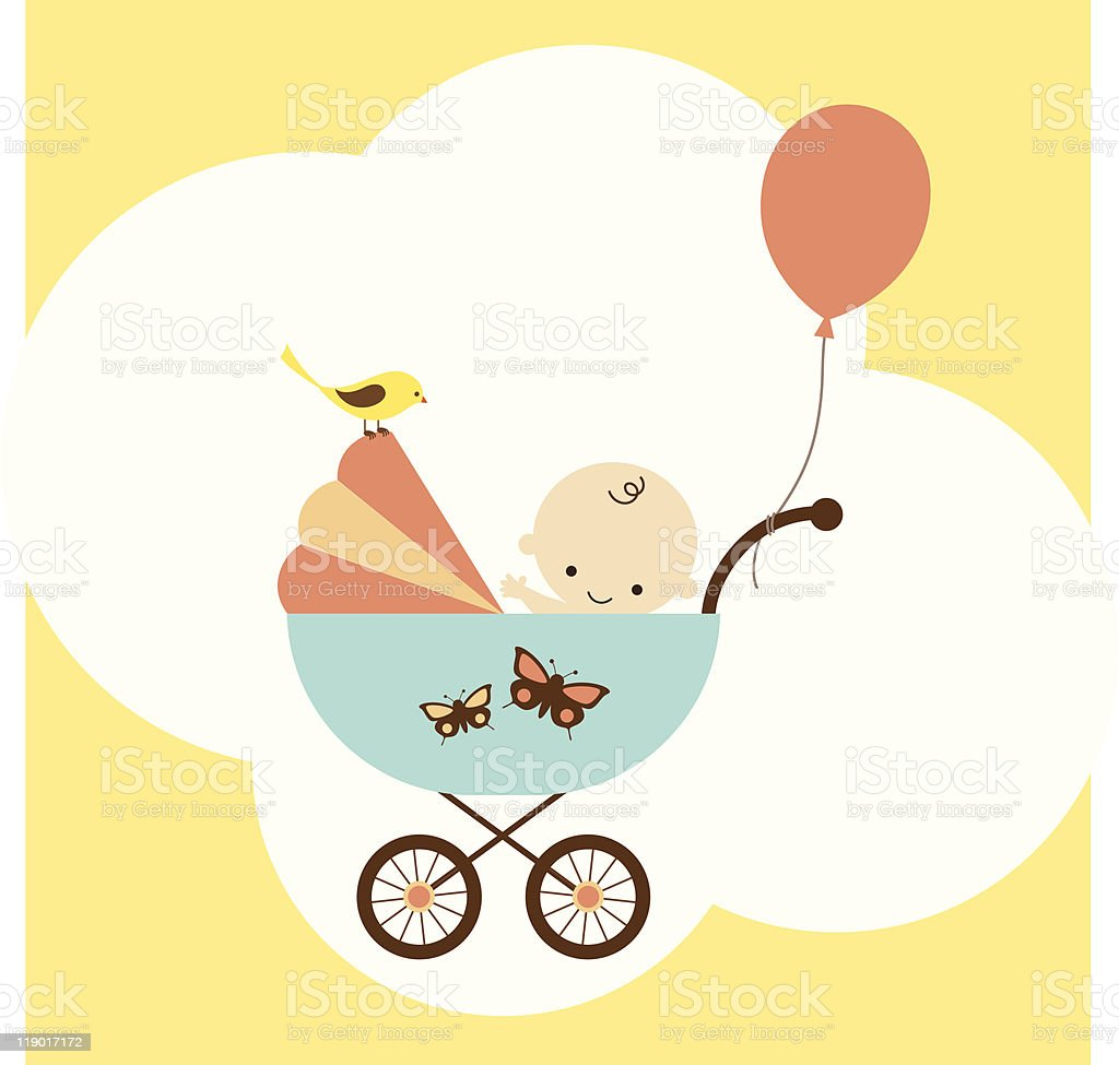 Icon of baby boy in stroller with balloon vector art illustration