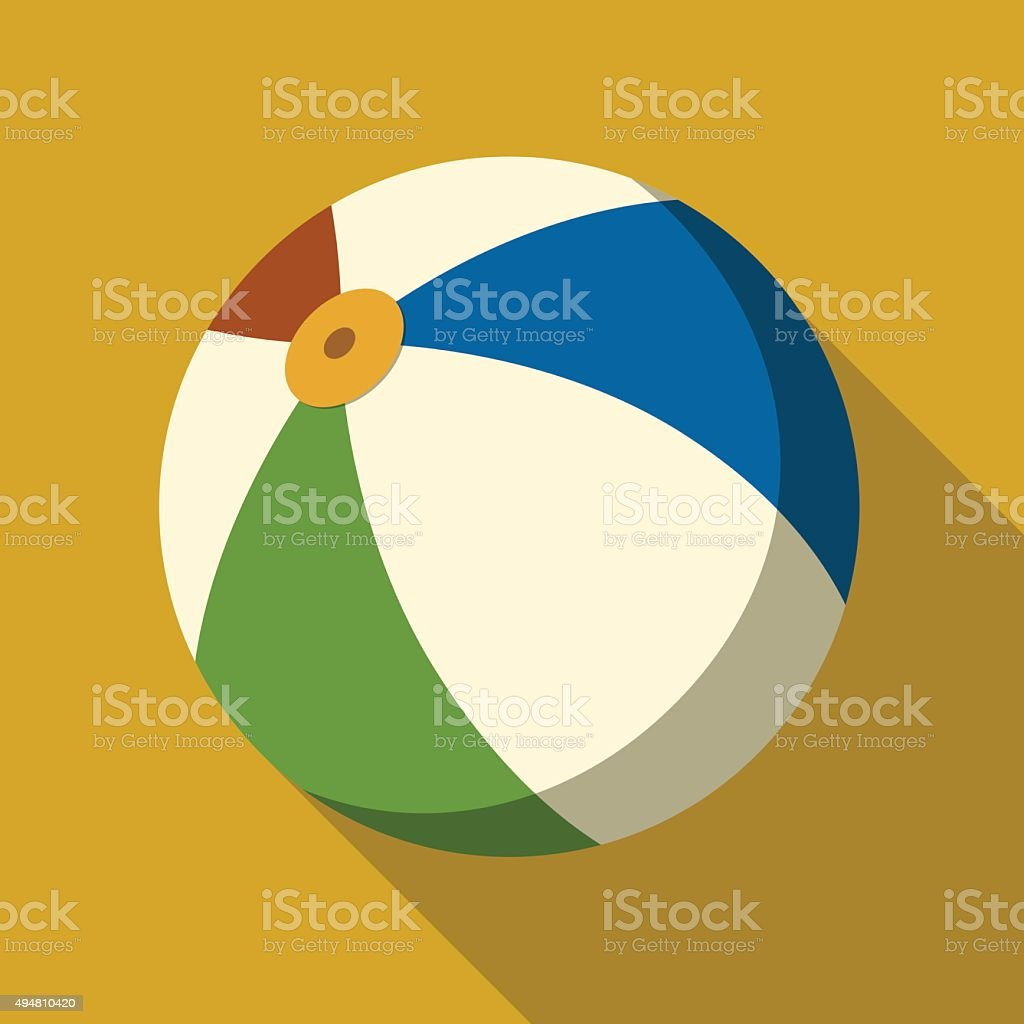 icon of beach ball in flat design vector art illustration