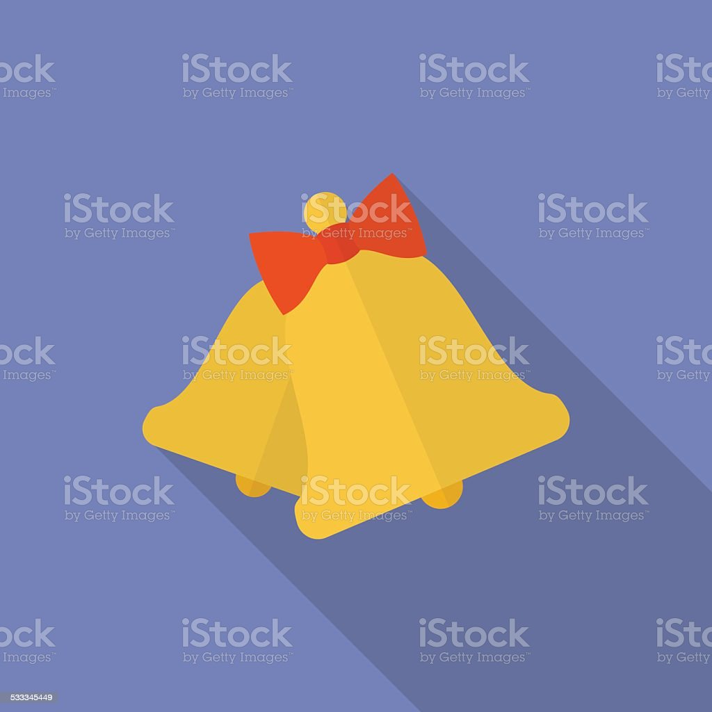 Icon of bells with a bow. Flat style vector art illustration
